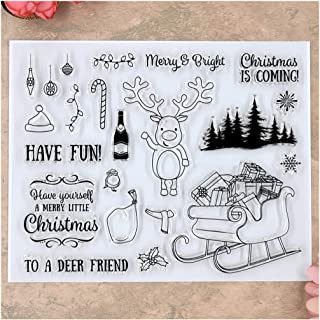 Kwan Crafts Merry Christmas Deer Giftbox Tree Clear Stamps for Card Making Decoration and DIY Scrapbooking