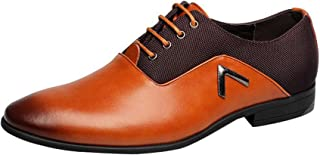 Gaorui Men Pointed Toe Business Dress Formal Leather Shoes Flat Oxfords Loafers Slip On