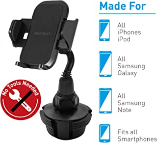 """Macally Cup Holder Phone Mount for Car - Adjustable Neck, Base, & Cradle with Quick Release Button - Fits Phones 1.7"""" to 4.1"""" Wide & Simple Install - Cell Phone Cup Holder for Car SUV Trucks etc."""