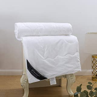 ZIMASILK Mulberry Silk Comforter with Cotton Covered Filled by 100% Natural Long Grade Pure Silk,Silk Weight:3.3LBS,Breathable Duvet Quilt for All Season (Queen 86''x90'', White)