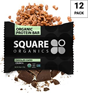 Square Organics Organic Protein Bar, Chocolate Coated Crunch (12 Count) 1.7 Oz., Gluten-Free Soy-Free Dairy-free Vegan High Protein Snack