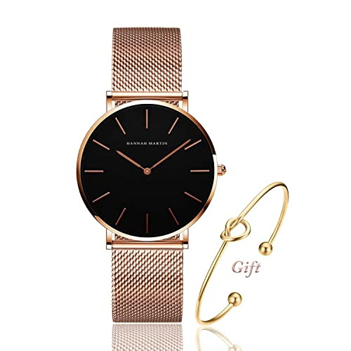 9cc0cba958e Women s Rose Gold Watch Analog Quartz Stainless Steel Mesh Band Casual  Fashion Ladies Wrist Watches with