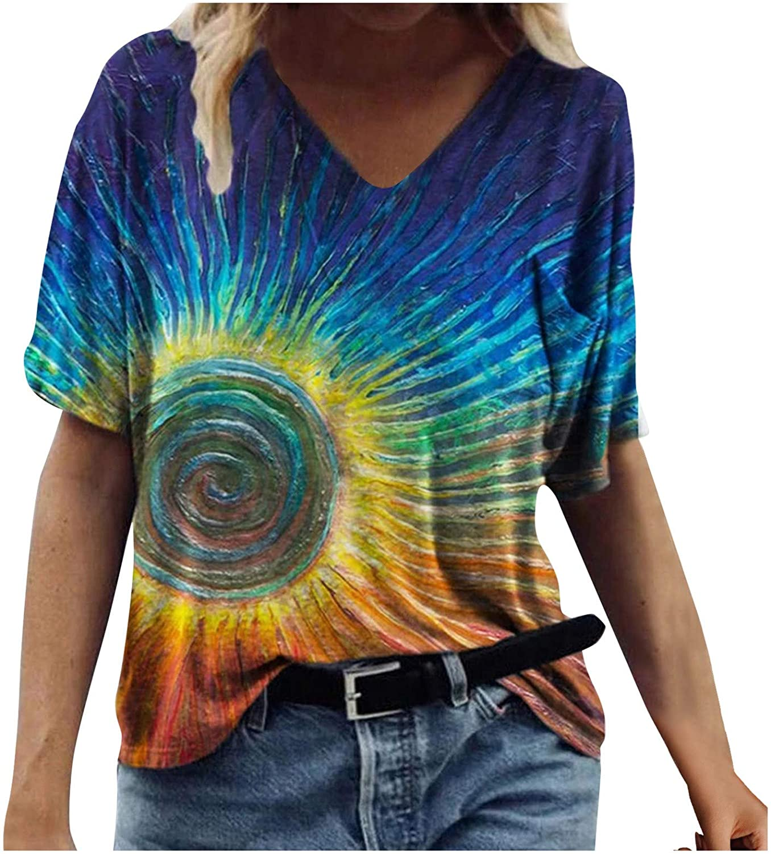 POLLYANNA KEONG Tops for Women Casual Summer,Womens Short Sleeve Shirts V-Neck Tshirts Floral Printed Summer Tops