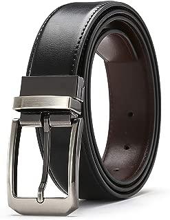 FURIENIDE Fine Men's Dress Belt Leather Reversible 1.3