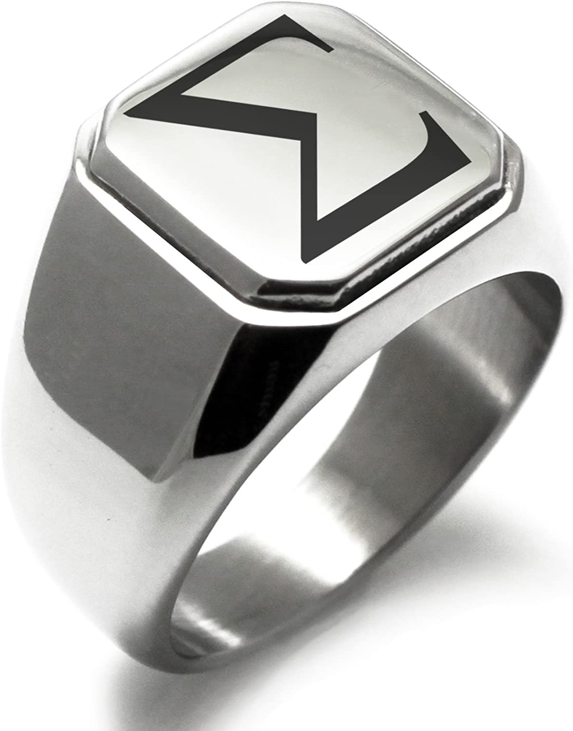 Tioneer Stainless Cheap mail order Max 81% OFF specialty store Steel Signet Biker Rings Greek Symbol Men for