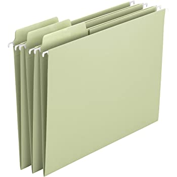 Smead Erasable FasTab Hanging File Folder, 1/3-Cut Built-in Tab, Letter Size, Moss, 20 per Box (64032)