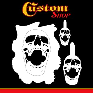 Custom Shop Airbrush Stencil Skull Design Set #8 (3 Different Scale Sizes) - 3 Laser Cut Reusable Templates - Auto, Motorcycle Graphic Art