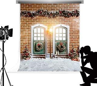 Kate al Aire Libre Invierno Nieve Foto telón de Fondo 1.5x2.2 m Pared de ladrillo Retro árbol de Navidad Rama de Pino Guirnalda fotografía telón de Fondo para Vacaciones de Navidad