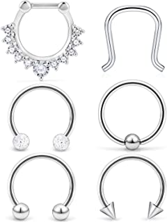 a4c44a3bb SCERRING 8PCS 16G Stainless Steel Hinged Seamless Septum Hoop Nose Ring  Horseshoe Rings Cartilage Daith Tragus