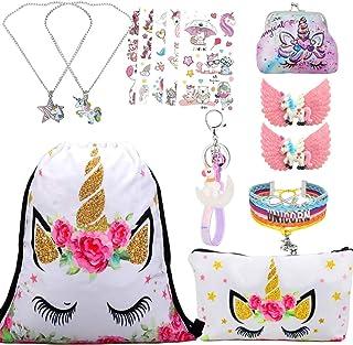 Unicornios Mochila con cordón/Maquillaje Bolsa/Collar de Cadena de aleación/Pulsera/5 Piezas de Lazos para el Cabello Unicornio/Unicornio Drawstring Gift para niñas