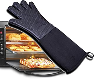 VAXT Baking, Cooking, Raincoat Non-Slip Potholder For Barbecue, Heat Repellent Gloves BBQ Kitchen Silicone Oven Mitts, Guide Grilling Gloves (Color : Black, UnitCount : Three pairs)