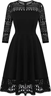 ELESOL Women's Vintage Floral Lace Dress Retro Rockabilly A Line Swing Cocktail Party Dress