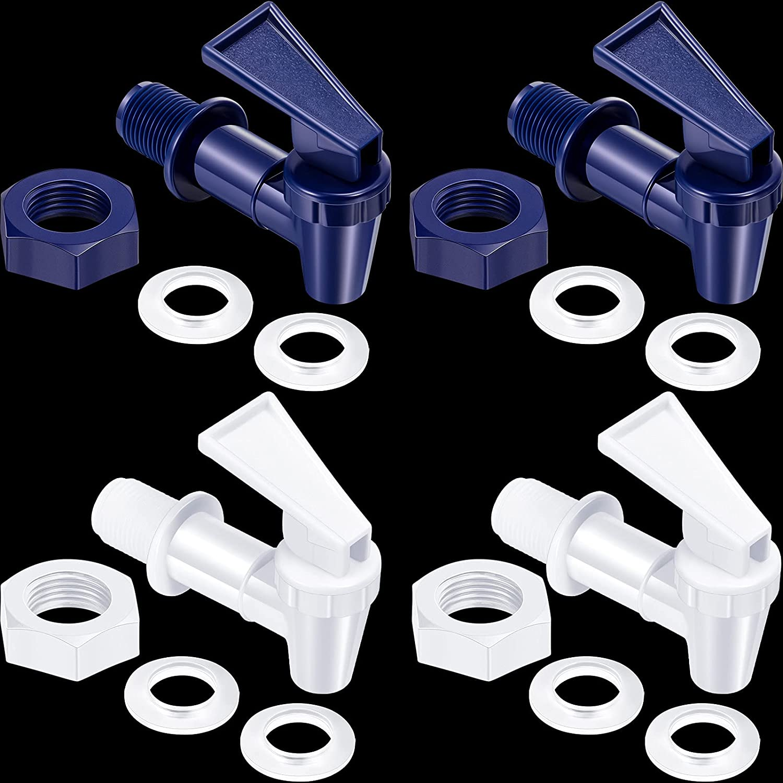 4 Sets BPA-Free Replacement Cooler Faucet Water Bottle Jug, Dispenser Tap Set, Reusable Spigot Spout Water Beverage Lever Pour Dispenser Valve Water Crock Tap (Deep Blue, White)