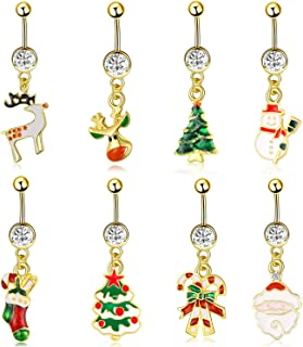 JDXN 8PCS Stainless Steel Christmas Series Belly Buttons Christmas Tree Gifts for Women Girls Jewelry