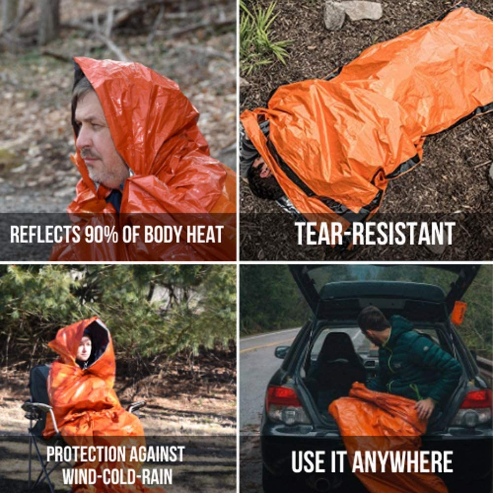 Packs of 4 & 6 Waterproof Emergency Survival Sleeping Bag with Hood | Thermal Blanket | Lightweight, Breathable| for Camping, Hiking and Any Outdoor Activities. : Sports & Outdoors
