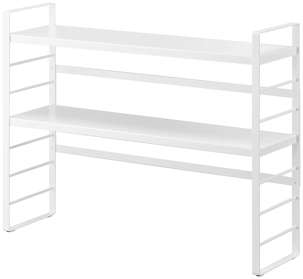 良心的こどもセンタードライブ山崎実業 シンク上キッチン収納ラック ホワイト 約W58×D16×H43.5cm プレート キッチン収納 3490