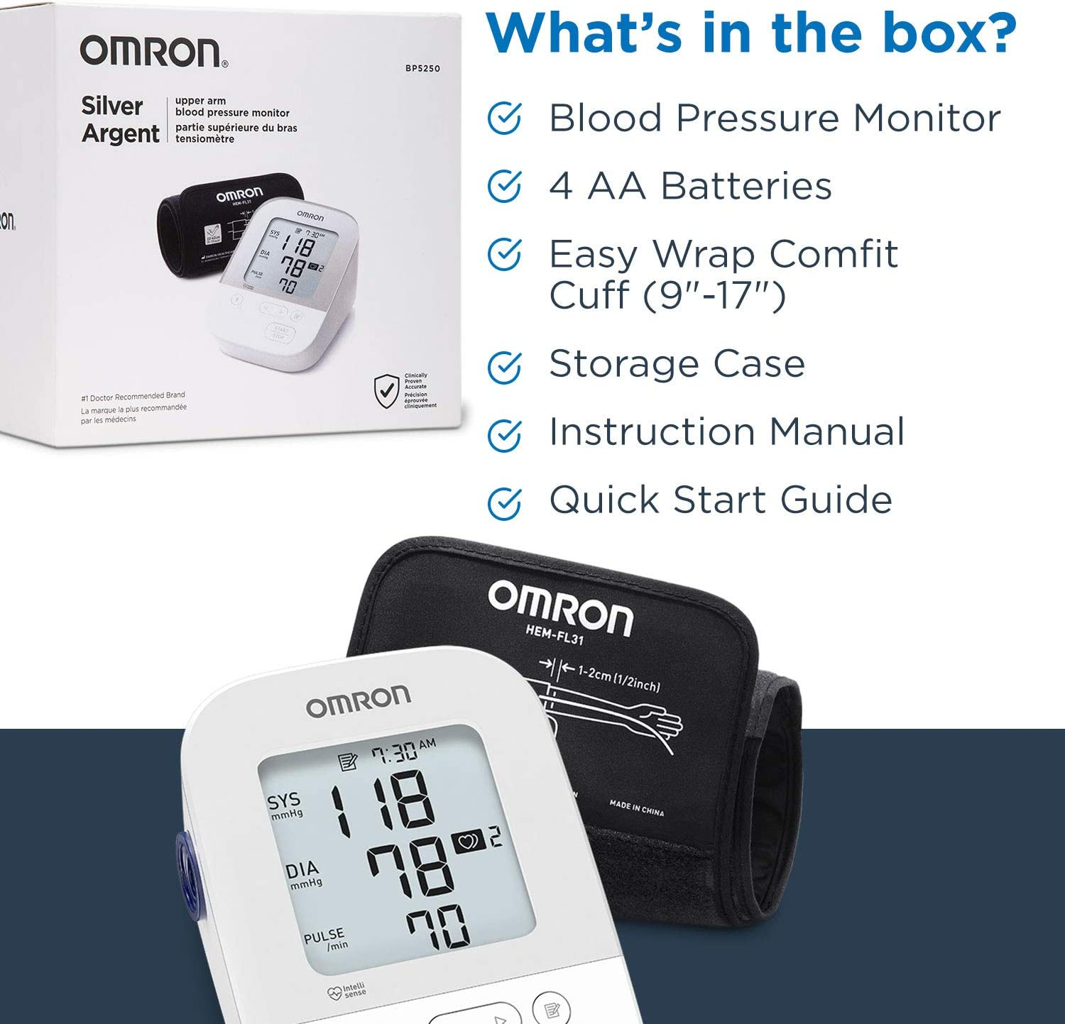 OMRON Silver Blood Pressure Monitor, Upper Arm Cuff, Digital Bluetooth Blood Pressure Machine, Stores Up To 80 Readings
