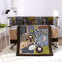 KINBEDY Originals Brown Woodland Animals 7 Piece Crib Bedding Set, Neutral Nursery Crib Set for Baby Girl and Boy, Including 4 Bumper Pads