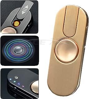 Metal Hands Fidget Spinner Toy Stress Reducer - Rechargable LED Light Flashing - EDC Fidgeter Stress Relief Stainless Steel Bearing High Speed (TYPE 3, rose gold)