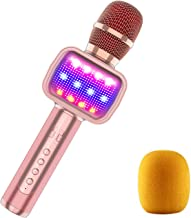 MOSOTECH Bluetooth Karaoke Microphone for Kids, Dynamic LED Light for Home/Stage/Party