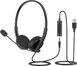Auriculares USB de 3,5 mm con micrófono, auriculares ligeros para computadora, control de silencio de volumen en línea, auriculares con micrófono de cancelación de ruido para portátil, PC, teléfono móvil, Skype Chat y auriculares de oficina.