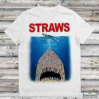 Straws T-Shirt Jaws Save Sea Turtles Anti Straw Unisex men ladies hoodie tank top swearshirt long sleeve Tshirt for Men Women Ladies Kids