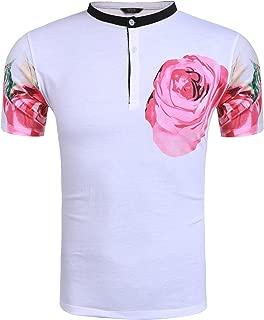 Men's Hipster Hip Hop T-Shirt Short Sleeve Dragon and Rose Graphic Print Tees Shirt