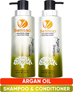 Moroccan Argan Oil Shampoo and Conditioner Set Sulfate Free for Normal Oily Curly Dry Damaged Color and Keratin Treated Hair for Men and Women