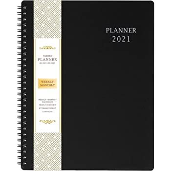 "2021 Planner - Weekly & Monthly Planner with Inner Pocket 8"" x 10"", Jan to Dec, Flexible Cover, Monthly Tabs, 21 Extra Pages,Twin-Wire Binding"