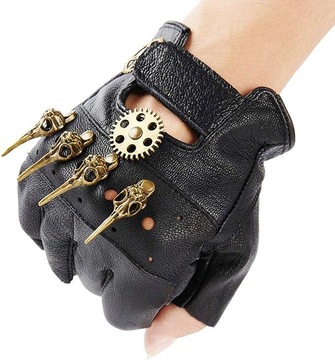 Steampunk Accessories | Goggles, Gears, Glasses, Guns, Mask KOGOGO Steampunk Leather Gloves Mens Gothic Fingerless Mittens  AT vintagedancer.com