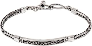 NOVICA .925 Sterling Silver Braided Chain Bracelet with Toggle Clasp, 7