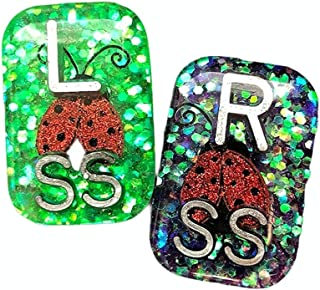 Ladybug Xray Markers, With Initials, Glitter, Rectangle