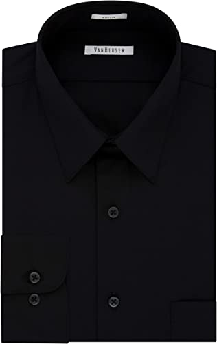 Van Heusen Hommes's Poplin Regular Fit Solid Point Collar Robe Shirt, noir, 14  Neck 32 -33  Sleeve