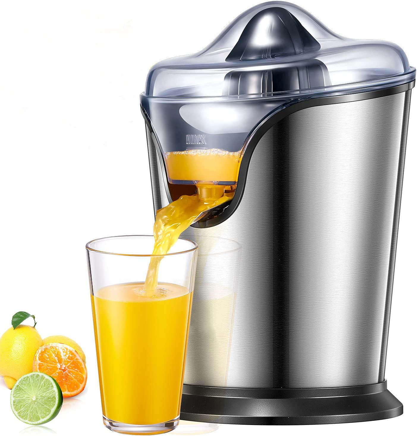 Orange Juicer Electric, 100W Citrus Juicer Squeezer with Two Interchangeable Cones Suitable for All Size of Citrus Fruits, Anti-drip Spout and Ultra Quiet Motor, BPA Free, Brushed Stainless Steel