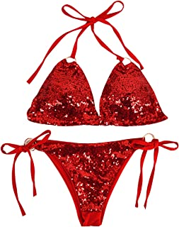 Sherry Women Triangle Bikini Set 2 Pieces Shiny Sequin Sexy String Beachwear Cross High Neck Halter Swimsuit