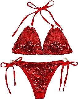 LABANCA Women's 2 Pcs Triangle Swimwear Sexy Sequin Bling Bikini Swimsuit Set