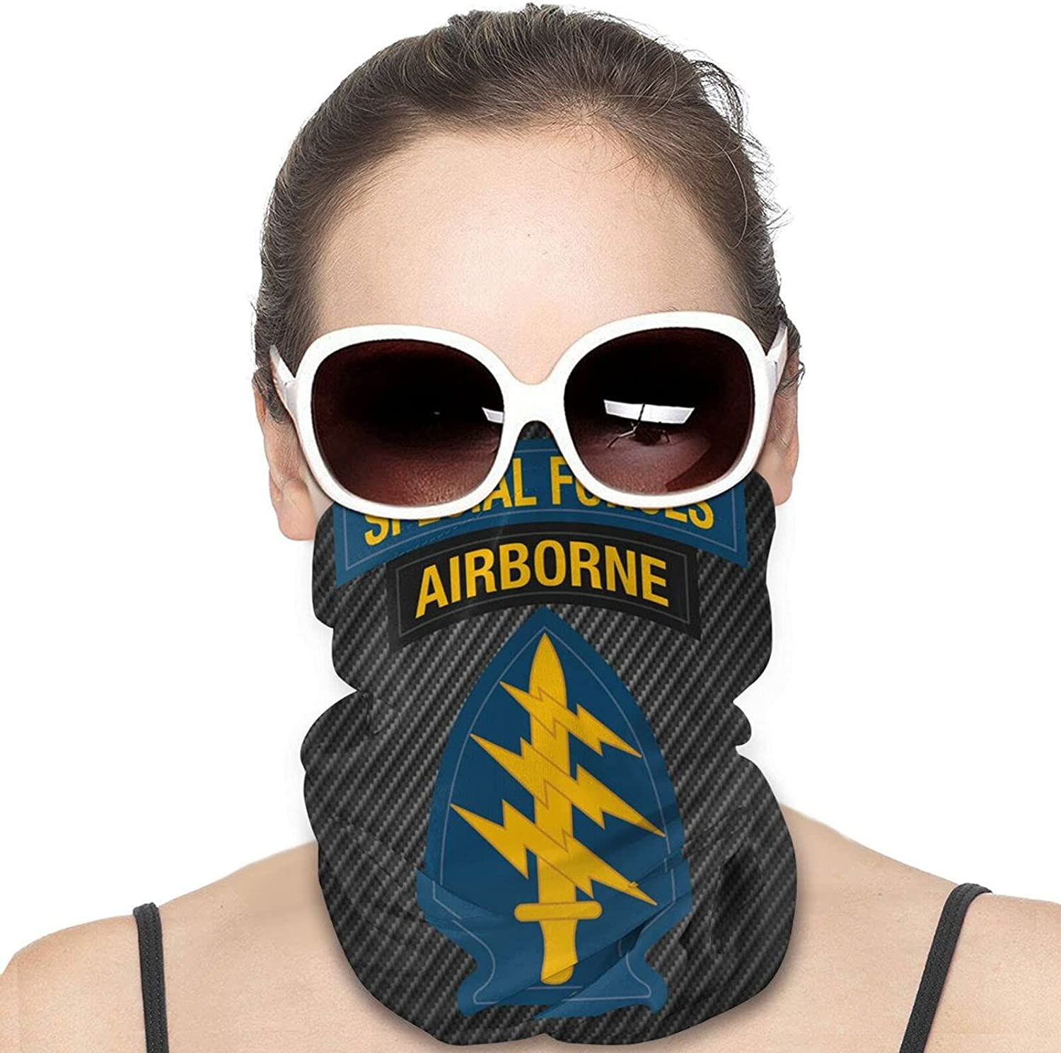 Forces Airborne Army Special Round Neck Gaiter Bandnas Face Cover Uv Protection Prevent bask in Ice Scarf Headbands Perfect for Motorcycle Cycling Running Festival Raves Outdoors