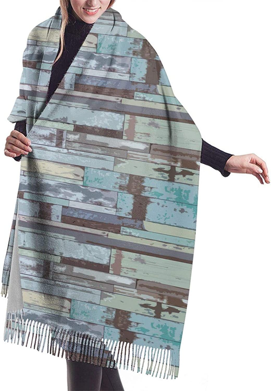 Vintage Wooden Blue Cashmere Feel Scarf Lightweight Soft Scarfs For Boys Girls Creative Warm Cold Weather Blanket Scarf