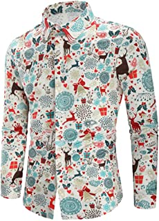 Casual Christmas Theme Button Up Shirt Top Xmas Gift Elk Bell Print Tee Shirt Party Costume Beautyfine