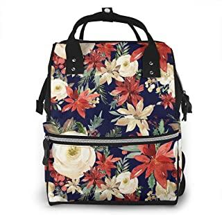 Evergreen Florals Navy Multi-Function Travel Backpack Nappy Bag,Fashion Mummy Bag