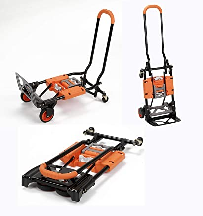 Hand Truck Foldable with Wheels Heavy Duty & Cart Convertible (2-in-1