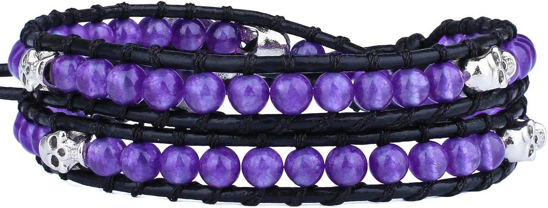 KELITCH Created Agate Crystal Gems Beads Charm 2 Wrap Bracelets Handmade Natural Leather New Jewelry