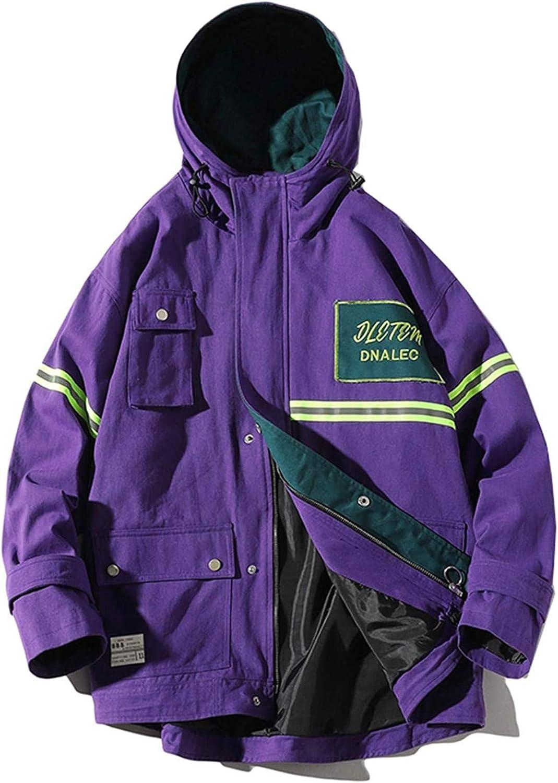 Youth Men Streetwear Bomber Jacket Patchwork Windbreaker Harajuku Vintage Hooded Jackets Coats Casual Zipper Coats