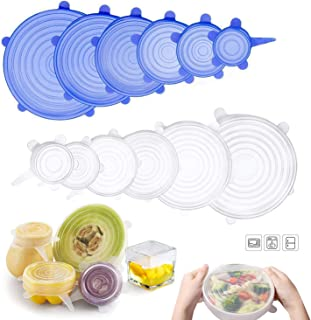 Cerpourt Silicone Stretch Lids,Reusable Durable and Expandable 12 Pack multi size lids fits 2.6