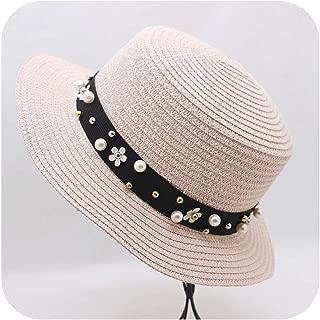 Beach CAPS Sun Visor Hats Straw Panama Hats for Lady Elegant Pearl Sun Hat