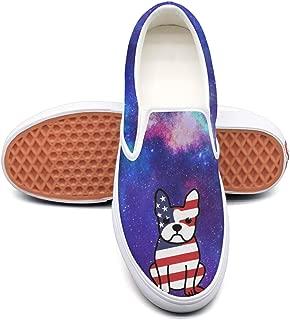 KKLDFD Boston Terrier Dog American Flag Women's Canvas Casual Skate Shoe