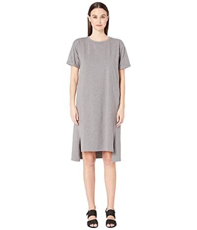 Eileen Fisher Jewel Neck Short Sleeve Dress (Moon) Women