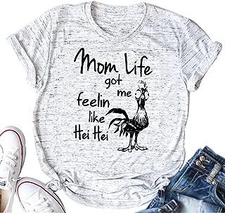 Mom Life Got Me Feelin Like HEI HEI Funny Saying T-Shirt Casual Top Tee
