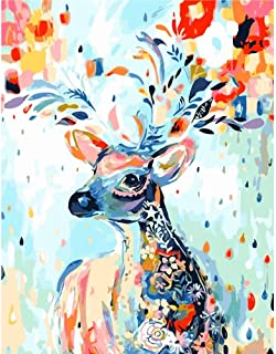 DIY Oil Painting, Easy Paint By Numbers for Adults Beginner Kids Teens Children Boys Girls, Animals Canvas Christmas Gifts Color Rainbow Deer Giraffe Elk Reindeer Antlers Stag 16x20 Inches Frameless
