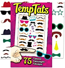 Hipster Temporary Tattoos Party Favors and Costume Set (75 Finger Tattoos -- Mustaches, Sunglasses and More!)